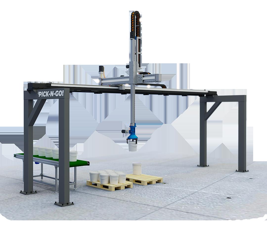 robot cartesiani XYZ a bandiera di pallettizzazione completi di pinza di presa per secchi fusti