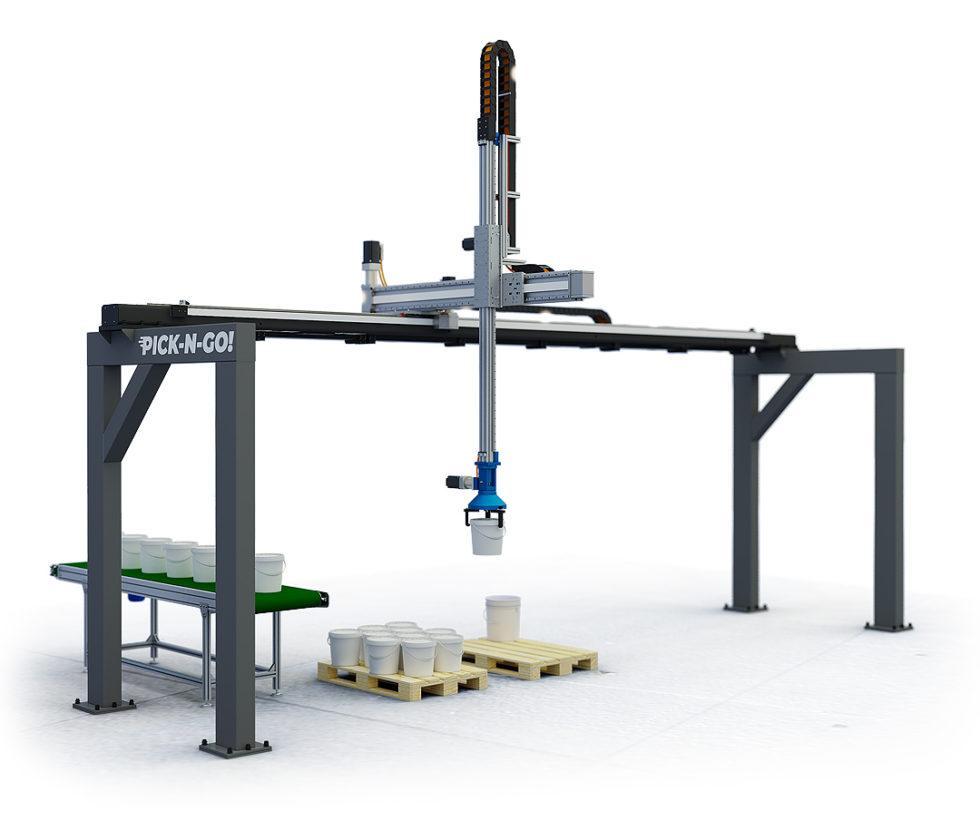 robot cartesiano XYZ di pallettizzazione completo di pinza di presa per secchi fusti